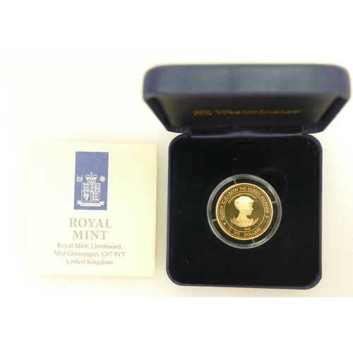 1194 - 1995 Barbados QEII Queen Mother lady of the century gold proof $10 coin. 7.776g. gold quality .583. ...