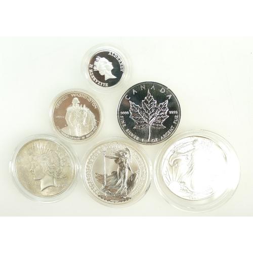 1195 - Six Silver coins - 1 oz fine silver Britannia with COA, US $1 fine silver 1 oz, Peace dollar 1922, C...