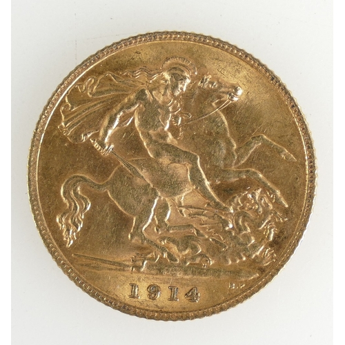 1198 - Gold Half Sovereign dated 1914...
