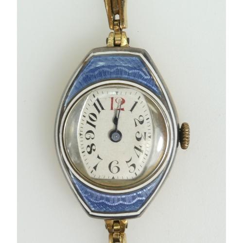 1205 - Guilloche & gilt metal ladies WRISTWATCH, enamel good, bracelet a/f. Watch 30mm high, NOT including ...