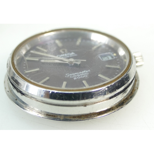 1209 - Omega Seamaster COSMIC 2000 gents wristwatch, 41mm inc crown.  Watch pushes out from reverse of brac...