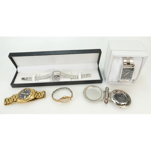 1214 - Group of 5 watches including ladies 9ct gold watch, Seiko 5 - day date automatic gents watch, Calvin...