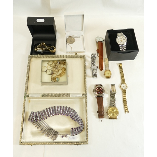 1217 - Group of various modern fashion and dress watches (8), including modern working gents Citizen auto d...
