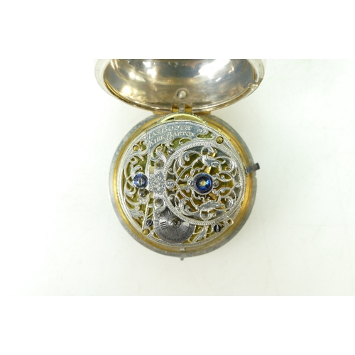 1219 - 18th century Silver Pair Cased Verge Pocket Watch with seconds and date functions. Information provi...