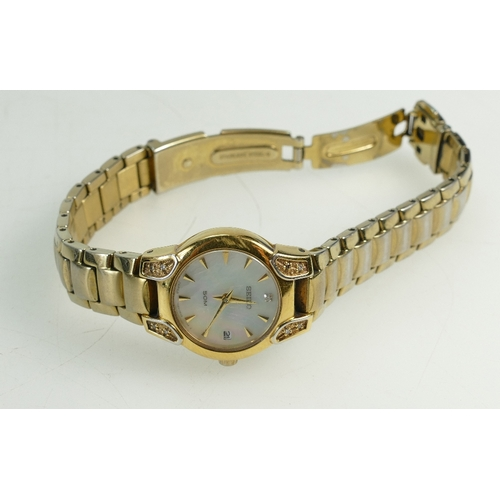 1220 - Ladies Seiko Gold plated Wristwatch and bracelet (scratches to bezel), with box, 2010 purchase recei...