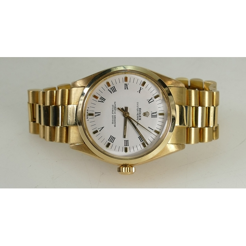 1225A - 18ct Gold Rolex Oyster Perpetual chronograph Wristwatch and bracelet, circa 1990 model 14208, with s...