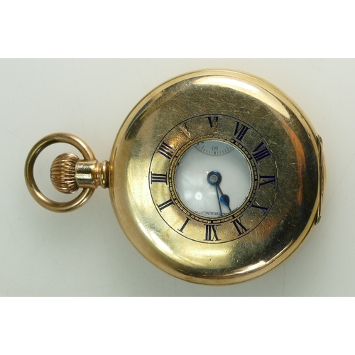 1228A - Gold plated Waltham Half Hunter Pocket Watch, top wind c1930....