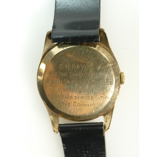 1230 - OMEGA 9ct gold cased Gents Wristwatch, hallmarked Birmingham 1965.  Back of case engraved with prese...