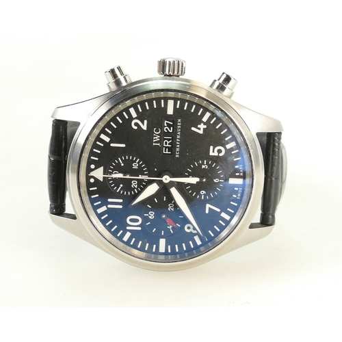 1230A - IWC stainless steel gentleman's automatic pilots chronograph watch with new leather strap, serviced ...