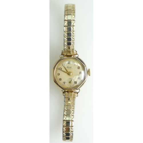 1240 - 9ct Gold Ladies AVIA Wristwatch on plated bracelet, ticking. 20 - 40...