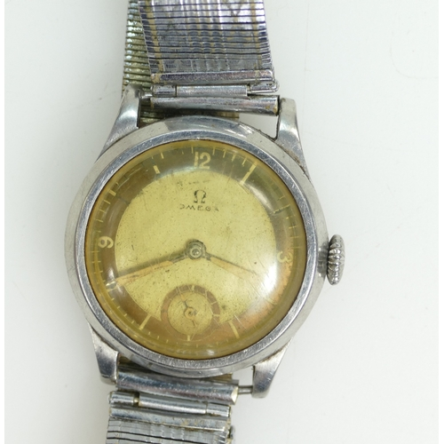 1241 - Omega Gents Wristwatch in steel case.  Not working. 33mm wide inc crown. c1930's / early 1940's.  Gl...