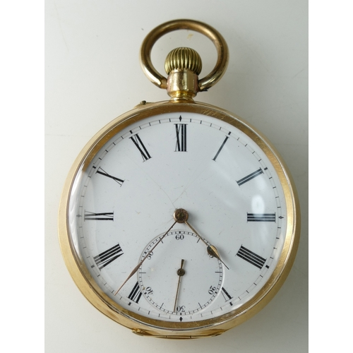 1249 - 18ct Gold Pocket Watch with top winder, gross weight 84.8 grams...