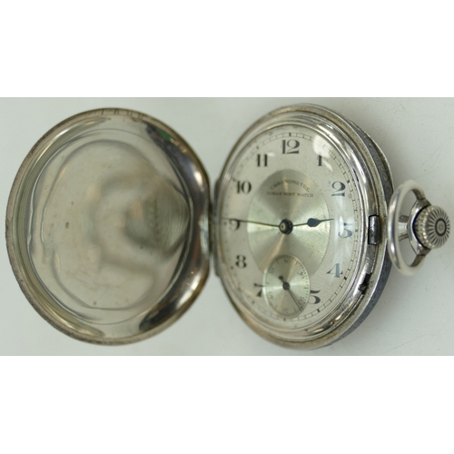 1250 - Continental silver & Niello black enamel Gents Pocket Watch in ticking order. Dial reads 'Chronometr...