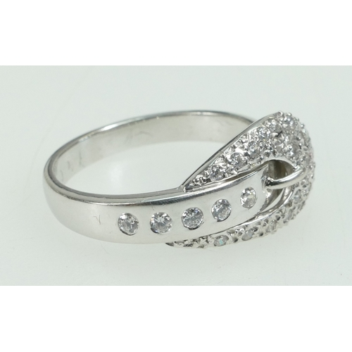 1257 - 18ct white gold diamond BUCKLE RING - 1/2 carat cluster comprising 30 diamonds approx. UK size O 1/2...