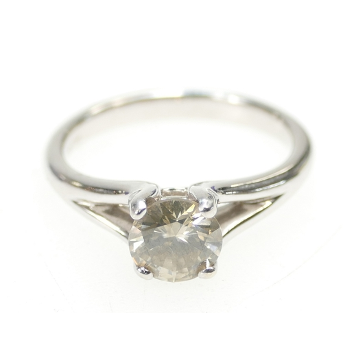 1260 - SOLITAIRE DIAMOND RING, 18ct white gold and stone size .75ct approx. Ring size L. 4g total....