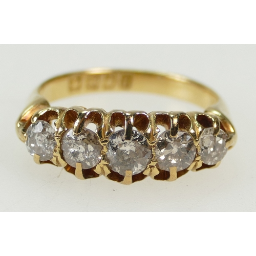 1268 - 18ct Yellow Gold five stone DIAMOND ring, the stones together about 0.8 ct (80 points) approx. Ring ...