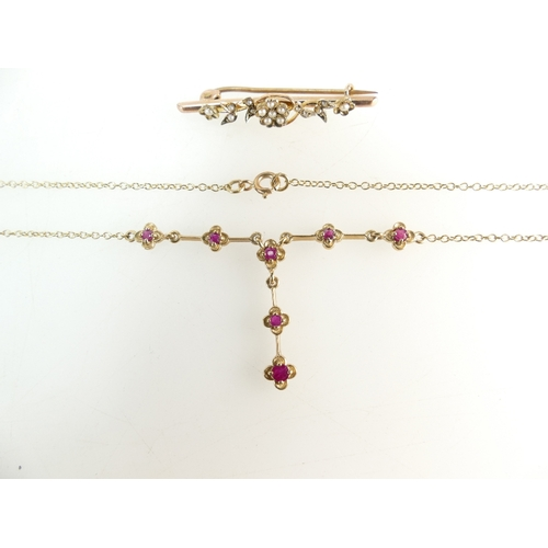 1270A - 9ct Victorian Rose Gold Seed Pearl Brooch and a 9ct gold Ruby Brooch and necklace, 6.6 grams....
