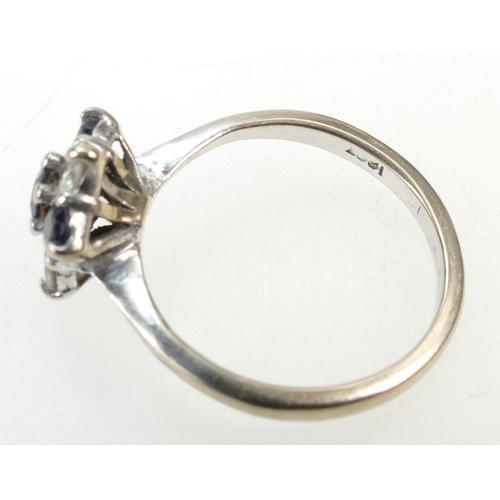 1272 - 18ct White Gold, SAPPHIRE AND DIAMOND RING - 4 x sapphires & 3 diamonds (10 pts each approx).  Stamp...