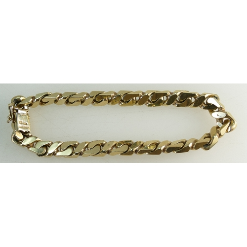 1278 - Heavy 9ct gold hallmarked unisex BRACELET with curb link. 20cm wearable length. 37.5 grams....