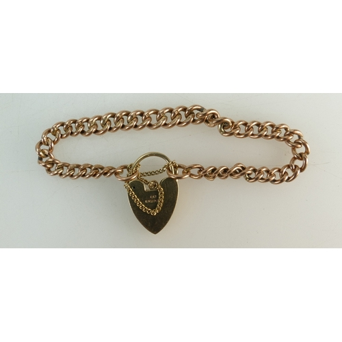 1281 - 9ct Rose gold BRACELET with 9ct Yellow Gold padlock clasp and safety chain. Weighs 20.7g total and m...