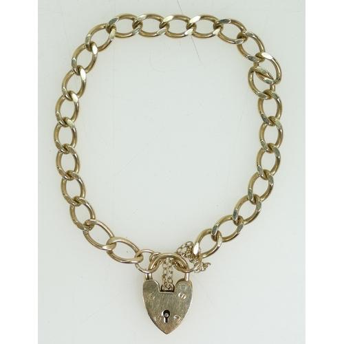 1282 - 9ct gold BRACELET & padlock, hallmarked. 16.5g...