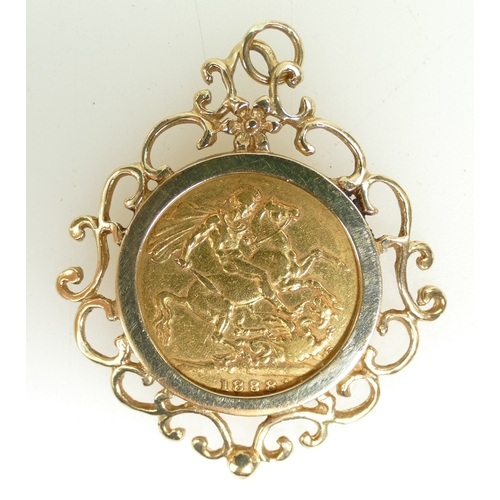 1283 - Full Sovereign Gold Coin 1888 in 9ct gold loose fitting mount. 12.2g gross....