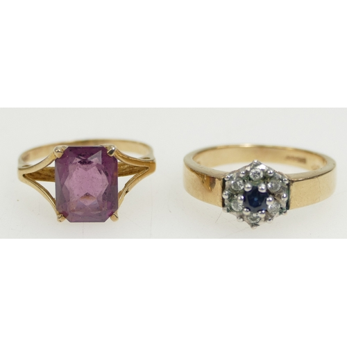 1285 - 2 x 9ct Gold gem set rings, both UK size O. Amethyst, together with sapphire & white stone cluster. ...