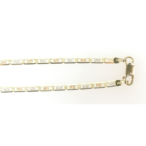 1291 - 18ct Gold 3 colour Italian gold necklace chain,  44.5cm long.  Weight 7.8g...