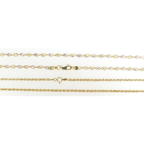 1293 - Two 9ct Gold twist design necklace chains, both measuring 45cm approx. 5.8g.  (2)...