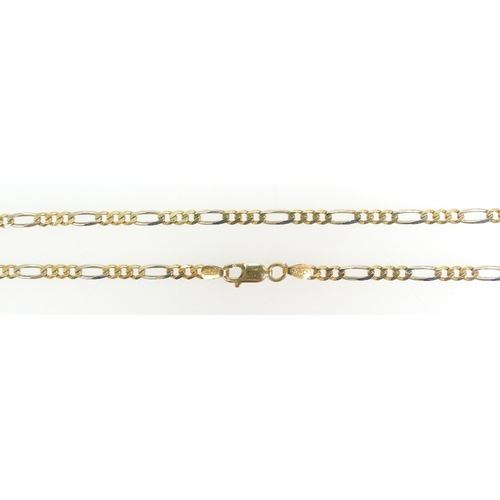 1296 - 18ct Gold Ladies necklace chain 58cm long. Weight 12.2g....