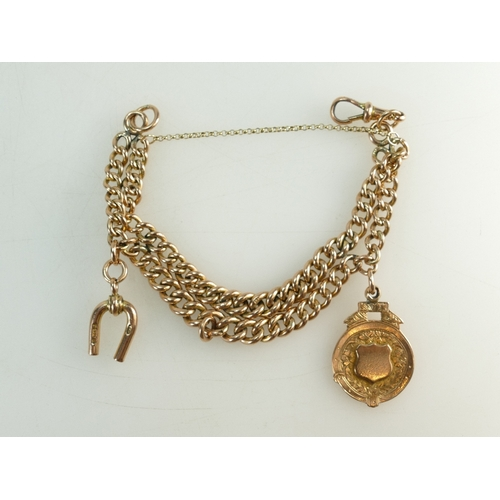 1298 - 9ct Gold Bracelet formed from antique double watch chain Albert, with 9ct charm & fob medallion atta...