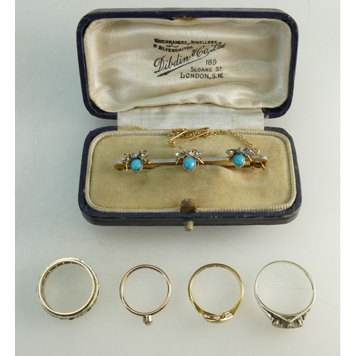 1302 - 15ct Gold Brooch & 4 x gold rings - Diamond & turquoise insect brooch, with soft solder repairs to 2...