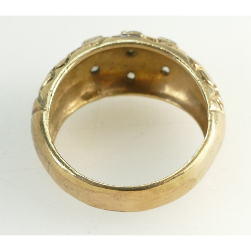 1304 - Large Gents 9ct Gold Dress Ring set white stones, weight 11.3g. Exceedingly large ring size, off the...