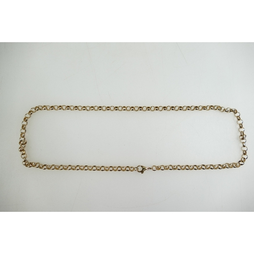 1305 - 9ct gold belcher link NECK CHAIN - 20.3g - 49cm long - width of link 5mm appx....