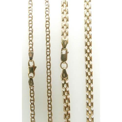1308 - 2 x 9ct Gold necklaces 41cm & 43cm (heavier).  12.4g gross (2)...