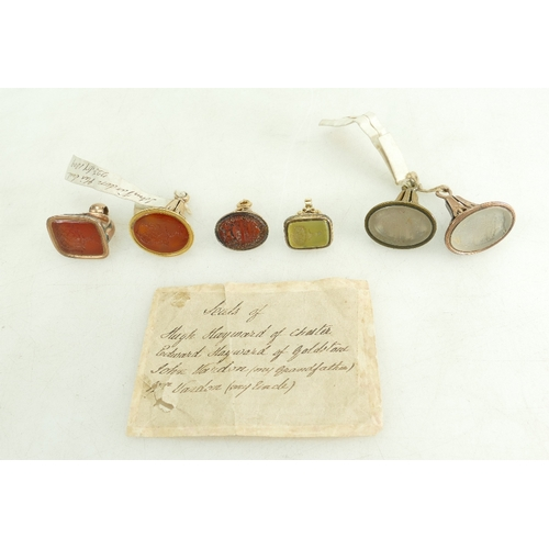1310 - Group of six FOB SEALS, late 18th century / early 19th century.  These historically interesting seal...