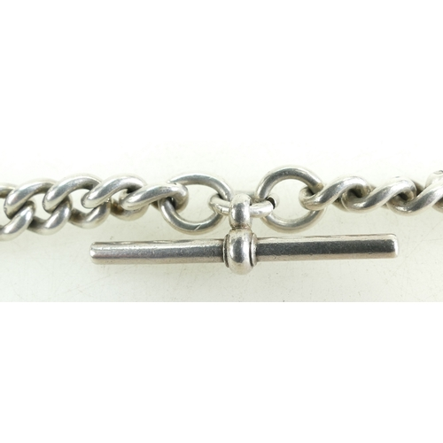 1311 - Large & heavy Silver Watch Chain Albert, bar to clip measures 33cm, 84.3 grams....