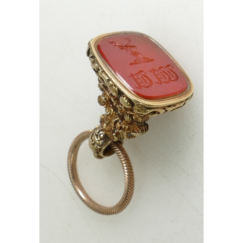 1312 - High quality Gold coloured metal early 19th century hardstone fob / seal.  Vardon coat of arms engra...