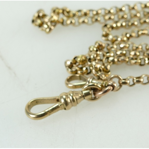 1314 - 9ct Gold Victorian ladies key guard / chain,length 152cm, 26.9 grams...