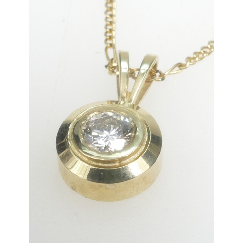 1333 - Diamond Pendant 0.52ct, set in 14k Gold together with a 14k neck chain.  Diamond appraised as colour...