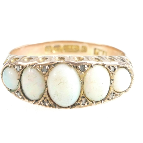 1341 - 9ct Gold 5 stone Opal ring, size R, 3.2 grams...