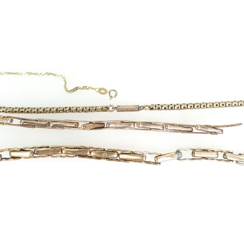 1344 - Two 9ct Gold vintage expandable watch straps, 9ct gold necklace etc, 19.6 grams...
