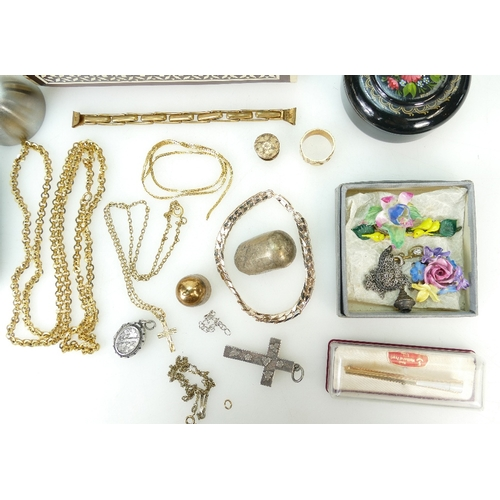 1345 - A collection of vintage items including silver brooches, gold plated items, china floral brooches, m...