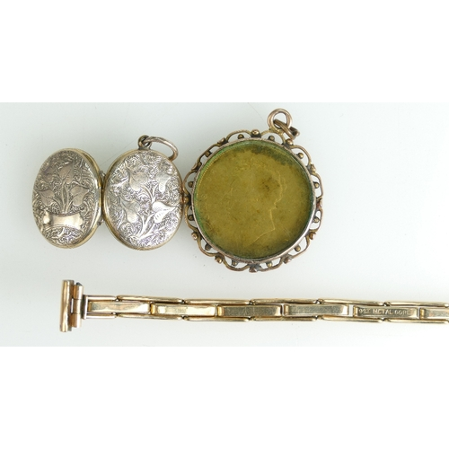 1346 - William IV enamelled shilling mounted in 9ct Rose Gold mount, 9ct metal core ladies expandable watch...
