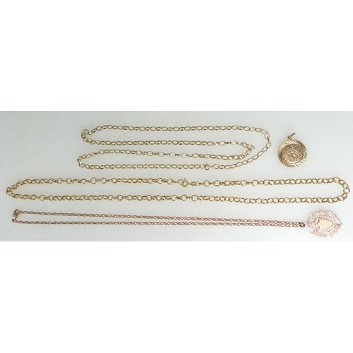 1352 - 3 x 9ct Gold neck chains - round belcher link 54cm, oval belcher link 60cm & smaller oval Rose Gold ...