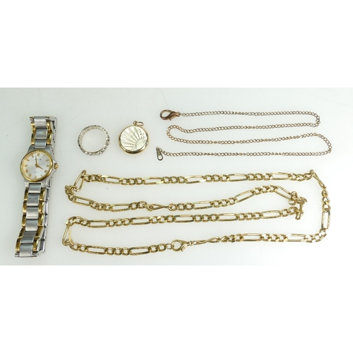 1354 - Small group of watch & jewellery including 9ct & Silver Eternity ring, 9ct Gold back & front Locket,...