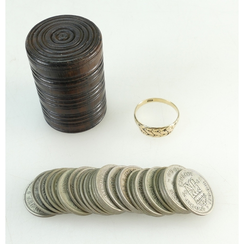 1355 - 9ct Gold ring, 2.3 grams and a collection of pre 1947 silver sixpences, 76.9 grams...