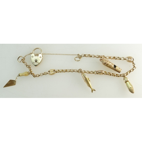 1357 - A 9ct Gold ladies CHARM BRACELET weighing 9g in total with four charms and hallmaked padlock clasp....