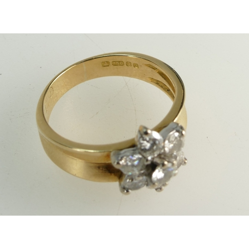 1359 - 18ct Gold Ladies Diamond Daisy cluster ring, size K, 4.4 grams...