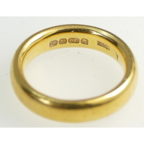 1363 - 2 x 22ct Gold Wedding bands, size L & K.  Weight 19.1g....